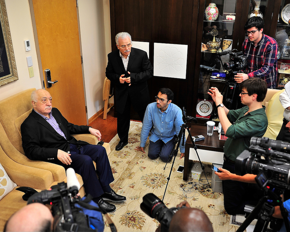 Exiled Turkish cleric and muslim imam Fethullah Gulen answers questions from members of the media during a rare interview at his Pocono Mountain compound July 16, 2016 in Saylorsburg, Pennsylvania.