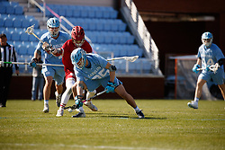 CHAPEL HILL, NC - MARCH 02: Zachary Tucci #35 of the North Carolina Tar Heels during a game against the Denver Pioneers on March 02, 2019 at the UNC Lacrosse and Soccer Stadium in Chapel Hill, North Carolina. Denver won 12-10. (Photo by Peyton Williams/US Lacrosse)