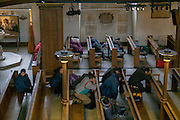 Homeless in St. James's church. Piccadilly. London. 22 January 2016