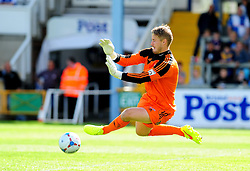 AFC Telford's Jonathan Hedge saves a shot from Bristol Rovers' Lee Mansell - Photo mandatory by-line: Neil Brookman - Mobile: 07966 386802 23/08/2014 - SPORT - FOOTBALL - Bristol - Memorial Stadium - Bristol Rovers v AFC Telford - Vanarama Football Conference