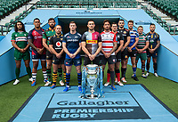 Football - 2019 / 2020 Gallagher Premiership Rugby - New Season Launch Media Photocall<br /> <br /> (From l to r), London Irish' Blair Cowan, Bristol Rugby's Nathan Hughes, Northampton Saints' Tom Wood, Wasps' Dan Robson, Sale Sharks' Chris Ashton, Harlequins' Mike Brown, Gloucester Rugby's Danny Cipriani, Saracens' Alex Goode, Exeter Chiefs' Don Armand, Bath Rugby's Rhys Priestland, Leicester Tigers' Tom Youngs, Worcester Warriors' Francois Hougaard, at Twickenham.<br /> <br /> COLORSPORT/ASHLEY WESTERN