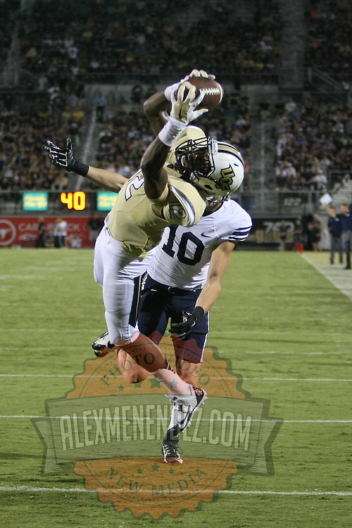 ORLANDO, FL - OCTOBER 09: Jacoby Glenn #12 of the UCF Knights intercepts the football at Bright House Networks Stadium on October 9, 2014 in Orlando, Florida. (Photo by Alex Menendez/Getty Images) *** Local Caption *** Jacoby Glenn