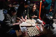 Mongolia. preparing new year in Gambolt family. dinner , littke dumpling with mutton meat called BUUZ. cattle breeder in Uyanga area during Tsagaan sar, mongol new year, called white month  aymak -   / preparation du nouvel an, le repas de BUUZ, petit dumpling avec de la viande de mouton. dans la yourte de la famille  Gambolt . famille d'eleveurs dans la region de Uyanga. pendant Tsagaan sar, nouvel an mongol le mois blanc,   ovorkangai province - Mongolie / L0009102D