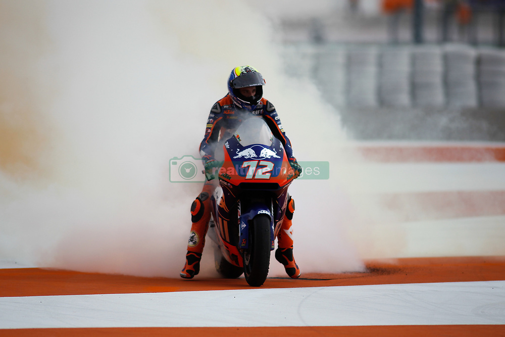 November 17, 2019, Cheste, VALENCIA, SPAIN: Marco Bezzecchi, rider of Red Bull KTM Tech 3 from Italy, celebrates after the MotoGP Race of the Valencia Grand Prix of MotoGP World Championship celebrated at Circuit Ricardo Tormo on November 16, 2019, in Cheste, Spain. (Credit Image: © AFP7 via ZUMA Wire)