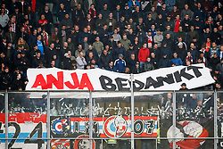banner of PSV fans Anja bedankt during the Dutch Eredivisie match between ADO Den Haag and PSV Eindhoven at Cars Jeans stadium on April 29, 2018 in The Hague, The Netherlands