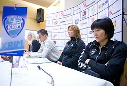 Deja Ivanovic Doler, Jaka Kravanja, Marta Bon and Ljudmila Bodnjeva at press conference of women handball club RK Krim Mercator,  on October 20, 2009, in M Hotel, Ljubljana, Slovenia.   (Photo by Vid Ponikvar / Sportida)