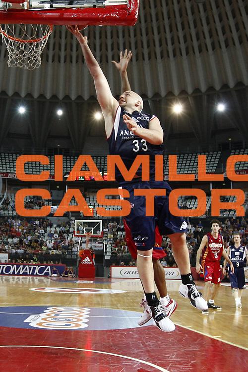 DESCRIZIONE : Roma Lega A1 2007-08 Playoff Quarti di finale Gara 1 Lottomatica Virtus Roma Angelico Biella<br /> GIOCATORE : Greg Brummer<br /> SQUADRA : Angelico Biella<br /> EVENTO : Campionato Lega A1 2007-2008 <br /> GARA : Lottomatica Virtus Roma Angelico Biella<br /> DATA : 18/05/2009<br /> CATEGORIA : tiro<br /> SPORT : Pallacanestro <br /> AUTORE : Agenzia Ciamillo-Castoria/E.Castoria