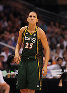 Sep 5, 2010; Phoenix, AZ, USA; Seattle Storm forward Svetlana Abrosimova (25) reacts on the court against the Phoenix Mercury during the first half in game two of the western conference finals in the 2010 WNBA Playoffs at US Airways Center.  The Storm defeated the Mercury 91-88.  Mandatory Credit: Jennifer Stewart-US PRESSWIRE.
