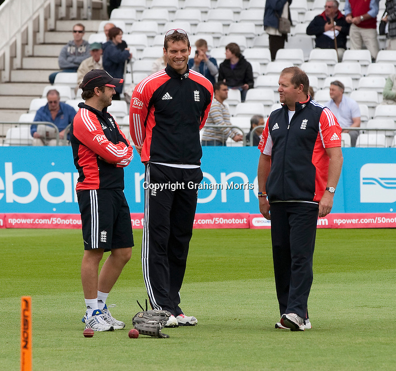 Chris Tremlett (centre) who has been ommited before the second npower Test Match between England and India at Trent Bridge, Nottingham.  Photo: Graham Morris (Tel: +44(0)20 8969 4192 Email: sales@cricketpix.com) 29/07/11