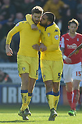 Luke Murphy (8) celebrates with Giuseppe Bellusci (5) of Leeds United after scoring to go 1 all  during the Sky Bet Championship match between Rotherham United and Leeds United at the New York Stadium, Rotherham, England on 2 April 2016. Photo by Ian Lyall.