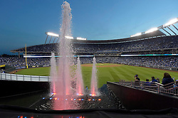 Oct 22, 2014; Kansas City, MO, USA; A general view of the fountains in the outfield before game two of the 2014 World Series between the Kansas City Royals and the San Francisco Giants at Kauffman Stadium. Mandatory Credit: Denny Medley-USA TODAY Sports