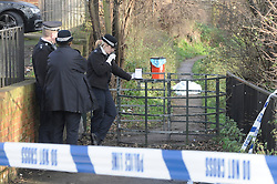 © Licensed to London News Pictures. 31/12/2014 <br /> The body of a man in his 70s has been found in Crayford,Kent. <br /> Bexley Police were called at 10.50am to Crayford Way,Crayford,Kent. near Dartford. after reports of a body seen in the River Cray, next to Crayford social Club.<br /> The body is still at the scene covered by a blacket.<br /> <br /> <br /> (Byline:Grant Falvey/LNP)