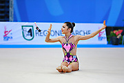 Filanovsky Victoria during qualifying at clubs in Pesaro World Cup 11 April 2015.<br /> Victoria was born in St. Petersburg in Russia 23 February 1995. In 2008 she joined the Israeli national team of rhythmic gymnastics.