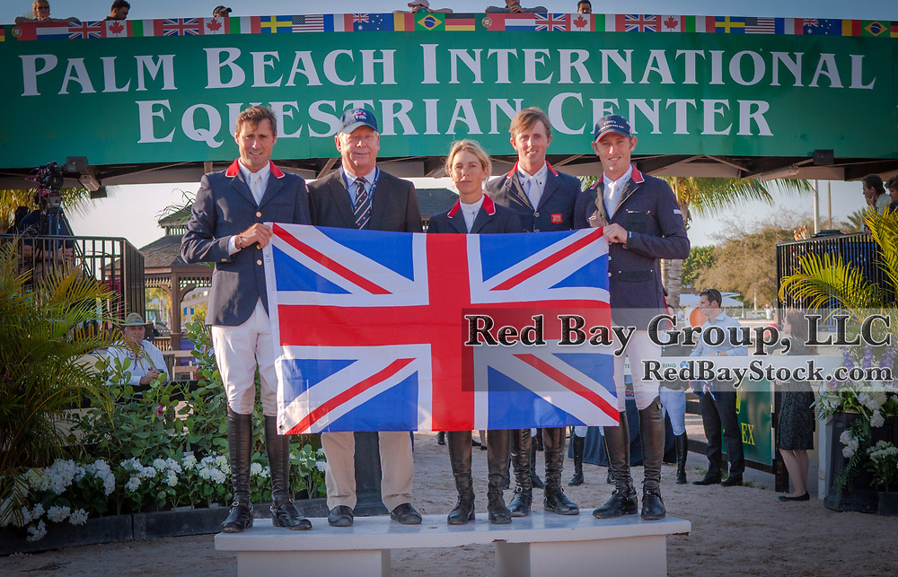 Team GB at the 2014 Furusiyya FEI Nations Cup held during the Winter Equestrian Festival in Wellington, Florida.