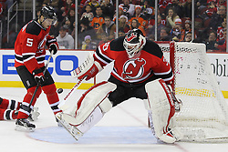 Jan 21; Newark, NJ, USA; New Jersey Devils goalie Martin Brodeur (30) makes a save during the second period at the Prudential Center.