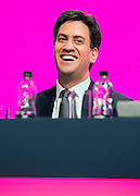 © Licensed to London News Pictures. 21/09/2014. Manchester, UK. Ed Miliband onstage at the Labour Party Conference 2014 at the Manchester Convention Centre today 21 September 2014. Photo credit : Stephen Simpson/LNP