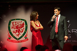 CARDIFF, WALES - Monday, October 5, 2015: Wales' manager Chris Coleman is interviewed by Frances Donovan after winning the Media Choice Award during the FAW Awards Dinner at Cardiff City Hall. (Pic by Ian Cook/Propaganda)