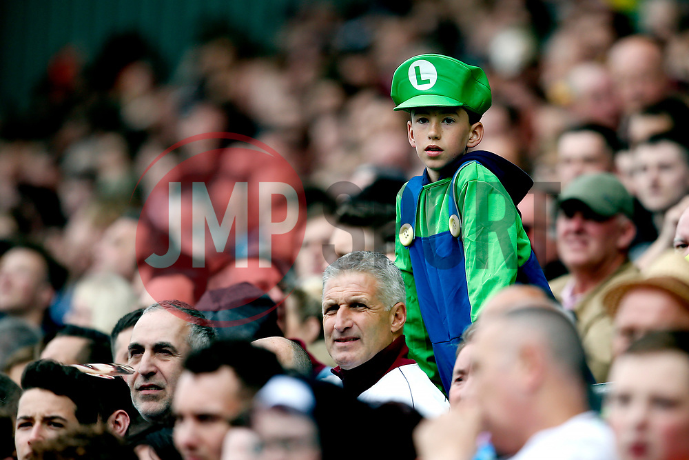 A young Aston Villa fan wears a Luigi fancy dress outfit - Mandatory by-line: Matt McNulty/JMP - 29/04/2017 - FOOTBALL - Ewood Park - Blackburn, England - Blackburn Rovers v Aston Villa - Sky Bet Championship