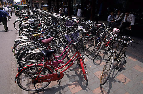 China, Cities, City of Shanghai. Bikes in downtown area.