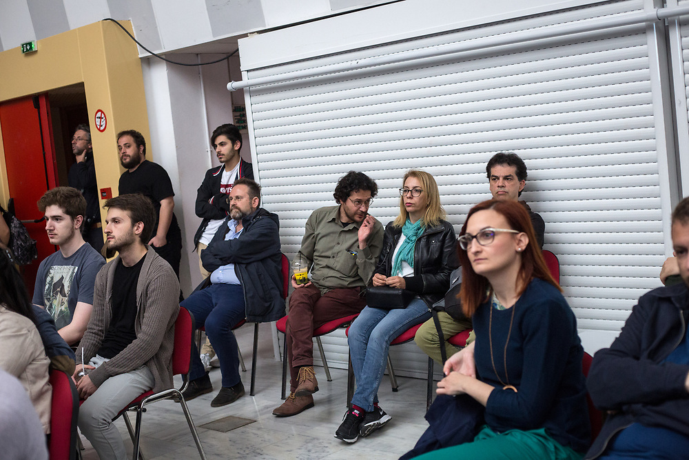 People gathered at Vellidio Conference Center in Thessaloniki, Greece, for the central event of Yanis Varoufakis and the DiEM25 political movement presentation on the 29th of April 2017.