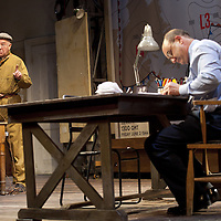 The Lyceum present the World Premiere of Pressure<br /> By David Haig<br /> <br /> Picture shows :(l-r)<br /> Michael Mackenzie &ndash; Electrician (l)<br />  David Haig &ndash; Group Captain Dr. James Stagg (far right)<br /> <br /> <br /> Picture : Drew Farrell<br /> Tel : 07721 -735041<br /> www.drewfarrell.com<br /> 