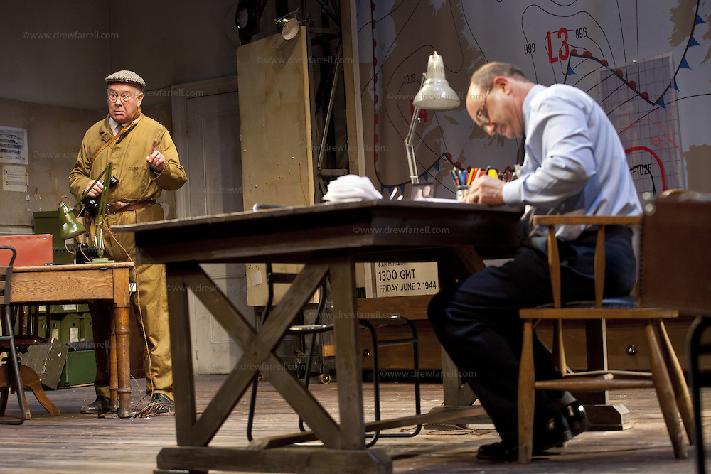 The Lyceum present the World Premiere of Pressure<br /> By David Haig<br /> <br /> Picture shows :(l-r)<br /> Michael Mackenzie &ndash; Electrician (l)<br />  David Haig &ndash; Group Captain Dr. James Stagg (far right)<br /> <br /> <br /> Picture : Drew Farrell<br /> Tel : 07721 -735041<br /> www.drewfarrell.com<br /> Directed by John Dove<br /> A co-production with Chichester Festival Theatre<br /> June 1944. One man's decision is about to change the course of history.<br /> <br /> Cast<br /> David Haig &ndash; Group Captain Dr. James StaggLaura Rogers &ndash; Kay SummersbyRobert Jack &ndash; AndrewAnthony Bowers &ndash; Lieutenant Battersby/ Captain JohnsScott Gilmour &ndash; Young Naval RatingMalcolm Sinclair &ndash; General Dwight D &ldquo;Ike&rdquo; EisenhowerTim Beckmann &ndash; Colonel Irving P. KrickMichael Mackenzie &ndash; Electrician/Admiral Bertram &ldquo;Bertie&rdquo; RamsayAlister Cameron &ndash; Air Chief Marshall Sir Trafford Leigh-MalloryGilly Gilchrist &ndash; General &ldquo;Tooey&rdquo; Spaatz/Commander Franklin<br /> Creative Team<br /> Director - John DoveDesigner - Colin RichmondLX Designer - Tim MitchellDeputy LX Designer - Guy JonesComposer/Sound Design - Philip PinskyVideo Designer - Andrzej Goulding&nbsp;&nbsp;<br /> An intense real-life thriller centred around the most important weather forecast in the history of warfare.Scottish meteorologist, Group Captain James Stagg, the son of a Dalkeith plumber, must advise General Eisenhower on when to give the order to send thousands of waiting troops across the Channel in Operation Overlord.In what became the most volatile period in the British Isles for over 100 years, the future of Britain, Europe and our relationship with the United States, rested on the shoulders of one reluctant Scotsman.<br /> Pressure is the extraordinary and little known story of a Scot who changed the course of war, and our lives, forever.David Haig is a four time nominee and Olivier Award winning actor best known for hi