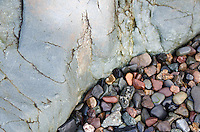 A close-up look at the beach stones of Campobello Island, a mix of smoothly polished granite, basalt, jasper, and schist.