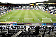 Black and white flags adorn Derby County's iPro Stadium a head of the Sky Bet Championship match between Derby County and Nottingham Forest at the iPro Stadium, Derby, England on 19 March 2016. Photo by Jon Hobley.