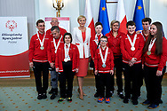 Warsaw, Poland - 2017 March 31: (C) First Lady Agata Kornhauser-Duda poses with Special Olympics Athletes while meeting at Polish President's Palace on March 31, 2017 in Warsaw, Poland.<br /> <br /> Mandatory credit:<br /> Photo by © Adam Nurkiewicz / Mediasport<br /> <br /> Adam Nurkiewicz declares that he has no rights to the image of people at the photographs of his authorship.<br /> <br /> Picture also available in RAW (NEF) or TIFF format on special request.<br /> <br /> Any editorial, commercial or promotional use requires written permission from the author of image.<br /> <br /> Image can be used in the press when the method of use and the signature does not hurt people on the picture.