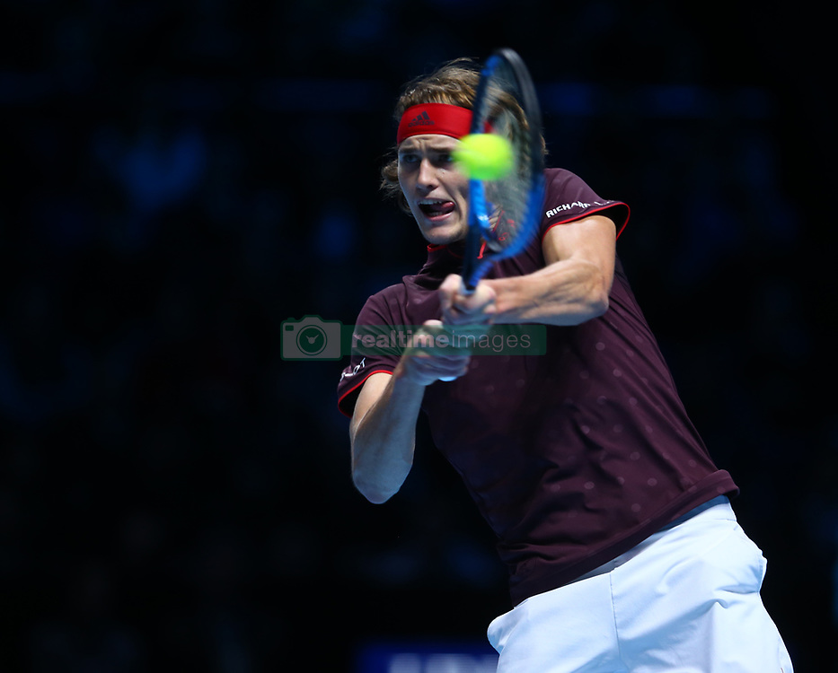 November 16, 2017 - London, United Kingdom - Alexander Zverev of Germany against Jack Sock of USA.during Day five of the Nitto ATP World Tour  Finals played at The O2 Arena, London on November 16 2017  (Credit Image: © Kieran Galvin/NurPhoto via ZUMA Press)
