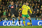 Derby County striker Andreas Weimann (24) and Norwich City midfielder Nelson Oliveira battle for the ball during  the EFL Sky Bet Championship match between Norwich City and Derby County at Carrow Road, Norwich, England on 2 January 2017. Photo by Nigel Cole.