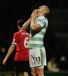 Yeovil Town's Kieffer Moore reacts to seeing his chance wasted  - Photo mandatory by-line: Joe meredith/JMP - Mobile: 07966 386802 - 04/01/2015 - SPORT - football - Yeovil - Huish Park - Yeovil Town v Manchester United - FA Cup - Third Round