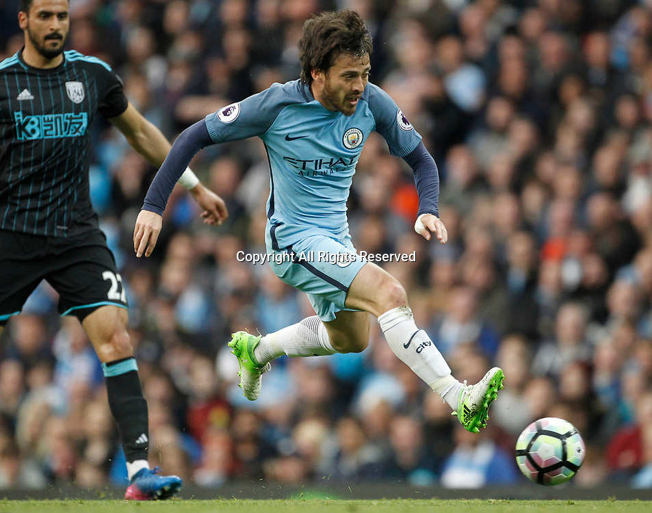 May 16th 2017, Etihad Stadium, Manchester, England; EPL Premier League football, Manchester City versus West Bromwich Albion; David Silva of Manchester City on the ball