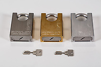 Commercial product photography of high security padlocks. Images for use on the product packaging as well as for the company website, online catalog, marketing proposals, and other sales tools.<br /> <br /> ©2018, Sean Phillips<br /> http://www.RiverwoodPhotography.com