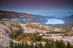 """Donner Lake Sunset 50"" - Photograph of Donner Lake, Rainbow Bridge, and fall foliage shot at sunset."