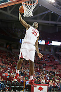 FAYETTEVILLE, AR - NOVEMBER 13:  Moses Kingsley #33 of the Arkansas Razorbacks dunks the basketball during a game against the Southern University Jaguars at Bud Walton Arena on November 13, 2015 in Fayetteville, Arkansas.  The Razorbacks defeated the Jaguars 86-68.  (Photo by Wesley Hitt/Getty Images) *** Local Caption *** Moses Kingsley