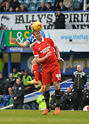 Leyton Orient Midfielder Kevin Nolan wins a header during the Sky Bet League 2 match between Portsmouth and Leyton Orient at Fratton Park, Portsmouth, England on 6 February 2016. Photo by Adam Rivers.