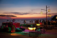 Beachfront dining and partying on white sand beach boracay.