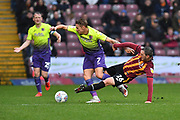 Bradford City player Callum Cooke(26) sliding tackle on Exeter City player Lee Martin(7) during the EFL Sky Bet League 2 match between Bradford City and Exeter City at the Utilita Energy Stadium, Bradford, England on 2 November 2019.