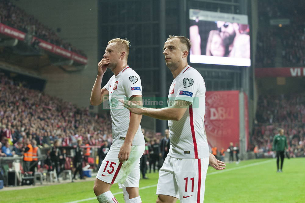 September 1, 2017 - Copenhagen, Denmark - Kamil Glik and Kamil Grosicki of Poland dejected during the FIFA World Cup 2018 Qualifying Round between Denmark and Poland at Telia Parken Stadium in Copenhagen, Denmark on September 1, 2017  (Credit Image: © Andrew Surma/NurPhoto via ZUMA Press)
