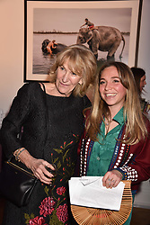 Annabel Elliot and her niece Ayesha Shand at Mark Shand's Adventures and His Cabinet Of Curiosities VIP private view, 32 Portland Place, London, England. 20 February 2018.