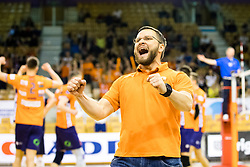 Zoran Kedacic, head coach of ACH Volley celebrates during 3rd Leg volleyball match between ACH Volley and OK Calcit Volley in Final of 1. DOL Slovenian National Championship 2017/18, on April 24, 2018 in Hala Tivoli, Ljubljana, Slovenia. Photo by Matic Klansek Velej / Sportida