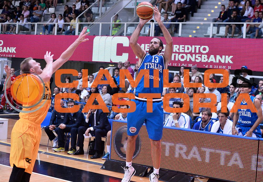 DESCRIZIONE : Trento Nazionale Italia Uomini Trentino Basket Cup Italia Belgio Italy Belgium<br /> GIOCATORE : Luigi Datome<br /> CATEGORIA : tiro three points<br /> SQUADRA : Italia Italy<br /> EVENTO : Trentino Basket Cup<br /> GARA : Italia Belgio Italy Belgium<br /> DATA : 12/07/2014<br /> SPORT : Pallacanestro<br /> AUTORE : Agenzia Ciamillo-Castoria/R.Morgano<br /> Galleria : FIP Nazionali 2014<br /> Fotonotizia : Trento Nazionale Italia Uomini Trentino Basket Cup Italia Belgio Italy Belgium