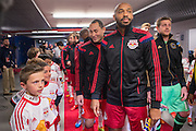 HARRISON, NJ - APRIL 16:  Thierry Henry #14 of New York Red Bulls and Luis Robles #31 before the game against the Philadelphia Union at Red Bulls Arena on April 16, 2014. (Photo By: Rob Tringali)
