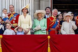 British Royal family on the balcony during celebration of the Trooping the Colour in London, UK, on June 08, 2019. Meghan Duchess of Sussex Princess Meghan Markle and Prince Harry British Royal Family at Trooping the Colour Queen Elizabeth, The Prince of Wales Charles, The Duchess of Cornwall Camilla, The Duke and Duchess of Cambridge, Prince George, Princess Charlotte Prince Louis Arthur Charles , Prince Andrew and Princess Anne in London, United Kingdom, trooping the colour , The annual trooping the color is to honor the Queens official birthday. Photo by Robin Utrecht/ABACAPRESS.COM