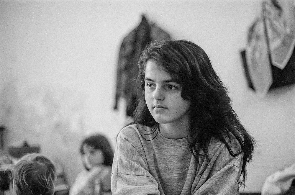 A young girl which was living as a refugee from Bosnia in the Varazdin refugee camp in Croatia in the winter of 1992.