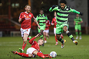 Crewe Alexandra's George Ray(5) tackles Forest Green Rovers Reuben Reid(26) during the EFL Sky Bet League 2 match between Crewe Alexandra and Forest Green Rovers at Alexandra Stadium, Crewe, England on 20 March 2018. Picture by Shane Healey.