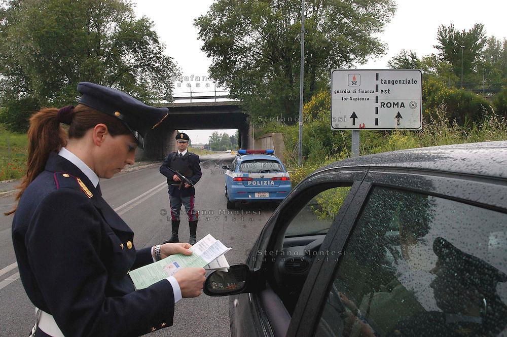 Rome   April  30 2007.Police Road check car in transit