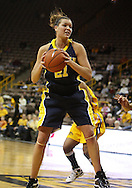 26 JANUARY 2009: Michigan forward Carly Benson (21) pulls down a rebound during the first half of an NCAA women's college basketball game Monday, Jan. 26, 2009, at Carver-Hawkeye Arena in Iowa City, Iowa. Iowa defeated Michigan 77-69.