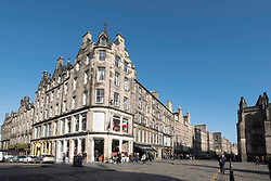 View of shops on the Royal Mile in Old Town of Edinburgh, Scotland, United Kingdom